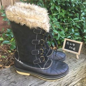 Target Winter Lace up Black Suede Boots 9L